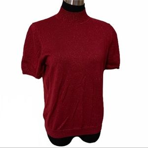 Alfred Dunner Red Short Sleeve High Neck Sweater